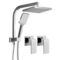 WELS Square 8 inch Rain Shower Head and Taps Set Handheld Spray Bracket Rail Chrome