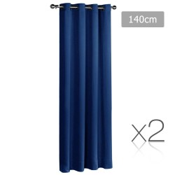 Art Queen 2 Panel 140 x 230cm Block Out Curtains - Navy
