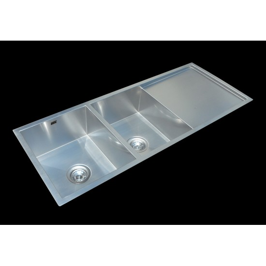 1160x460mm Handmade Stainless Steel Undermount / Topmount Kitchen Laundry Sink with Waste