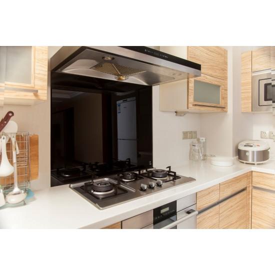 Toughened 90cm x 70cm Black Glass Kitchen Splashback
