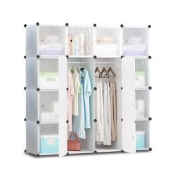 16 Cube Portable Storage Cabinet Wardrobe - White