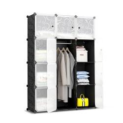 12 Cube Portable Storage Cabinet Wardrobe - Black