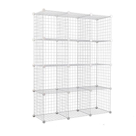 12 Cube Metal Wire Storage Cabinet - White