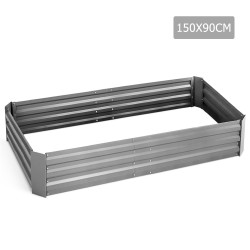 Green Fingers 150 x 90cm Galvanised Steel Garden Bed - Aliminium White