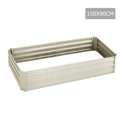 Green Fingers 150 x 90cm Galvanised Steel Garden Bed - Cream
