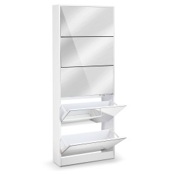 Artiss 5 Drawer Mirrored Wooden Shoe Cabinet - White