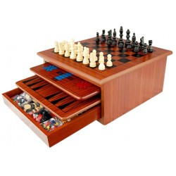 10 in 1 Wooden Chess Board Games Slide Out Best Checkers House Unit Set