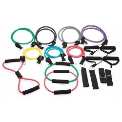 19PC Resistance Excercise Fitness Bands Tubes Kit Yoga Set