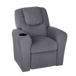 Artiss Kids Fabric Reclining Armchair - Grey