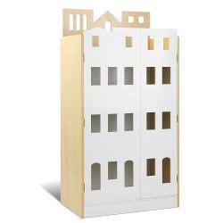 Artiss 4 Tier Kids Wooden Bookshelf - White & Natural Grain