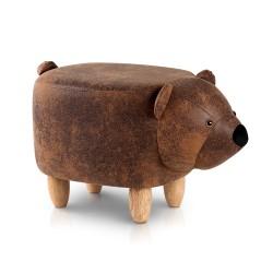 Artiss Kids Ottoman Animal Stool Bear Wood Footstool Fabric Brown