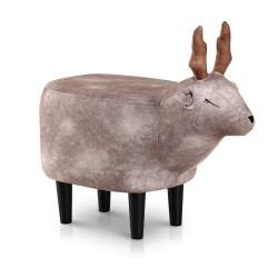 Artiss Kids Ottoman Animal Stool Deer Wood Footstool Fabric Brown