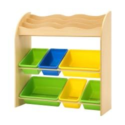 Artiss Kids Bookshelf Toy Box Bin Organizer Children Bookcase 3 Tiers