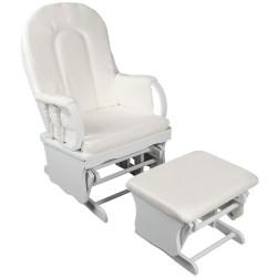 Cuddly Baby Breast Feeding Sliding Glider Chair with Ottoman - White