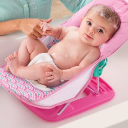Deluxe Baby Bather - Pink Bubble Stripes