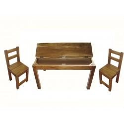 Hardwood study desk and 2 standard chairs
