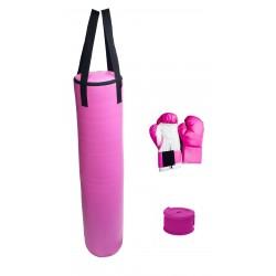 70lb Pink Heavy Bag Kit Punching Boxing Bag Gloves Hand Wraps
