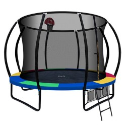 Everfit 10FT Trampoline With Basketball Hoop - Rainbow