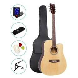 ALPHA 41 Inch Wooden Acoustic Guitar Set Full Size Natural