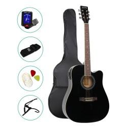 ALPHA 41 Inch 5 Band EQ Electric Acoustic Guitar Set Full Size Black