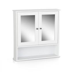 Artiss Bathroom Tallboy Storage Cabinet with Mirror - White