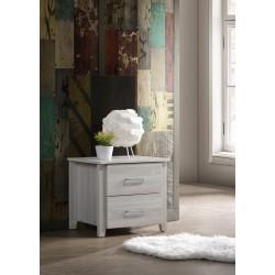 2 Drawers Bedside Table In White Oak