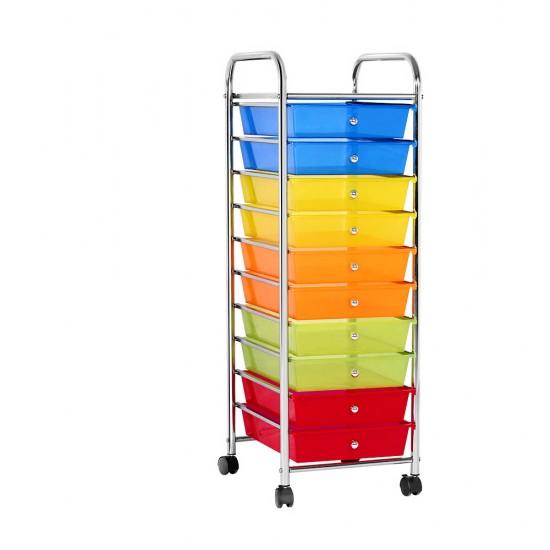 10 Drawer Kithchen Storage Trolley Cart Organizer Portable Rolling Cart Black