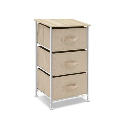 3 Fabric Drawers Bedside Table Storage Cabinet Chest Lamp Side Nightstand Unit