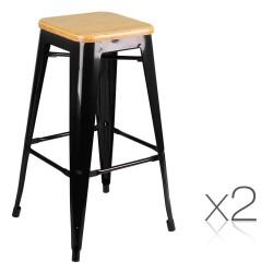 Artiss Set of 2 Bamboo Backless Bar Stools - Black