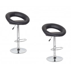 2x Black PU Leather Circular Kitchen Bar Stools