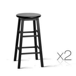 Artiss Set of 2 Beech Wood Backless Bar Stools - Black