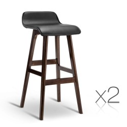 Artiss Set of 2 PU Leather and Wood Bar Stool - Black