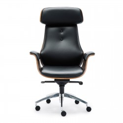 Wooden & PU Leather Office Chair Renaissance Executive Chair - Grey