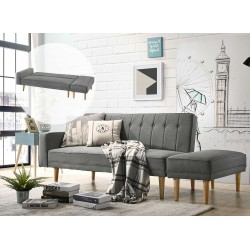 3 Seater Fabric Sofa Bed with Ottoman - Light Grey