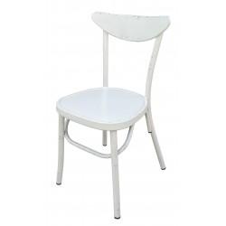 Aluminium Moon Back Chair Retro White Set of 2