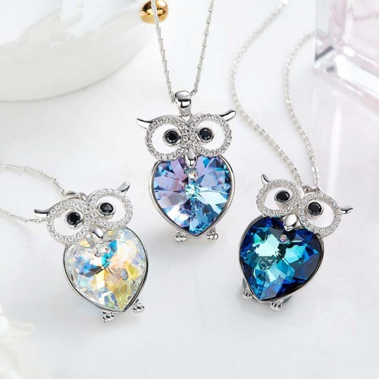 Made With Swarovski Necklace Pendant Silver Jewelry Owl Shape