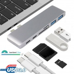 6 in1 USB-C Hub Dual Type-C Multiport Card Reader HDMI Adapter