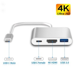 USB C to HDMI Adapter, Type C AV Converter 4K HDMI USB 3.0 Port USB-C Female