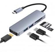 5IN1 USB Type C Hub Thunderbolt 3 to HDMI Adapter USB 3.0 SD/TF Card Reader