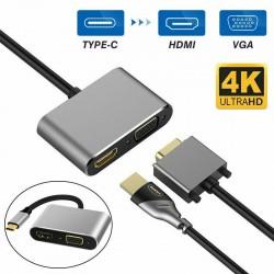 USB Type C to HDMI 4K VGA Adapter For Macbook Chromebook Pixel  XPS 13 iPad Pro