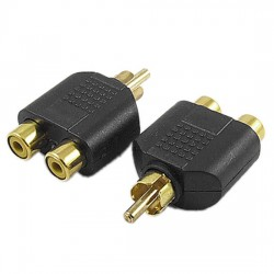 RCA Male to 2X RCA Female Audio Splitter Adapter Connector Coupler