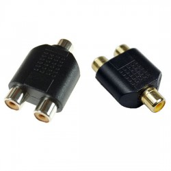 RCA Female to 2X RCA Female Audio Splitter Adapter Connector Coupler