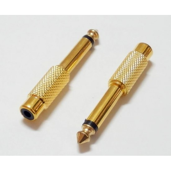 6.35mm Mono Male To RCA Female Audio Connector Adapter GOLD Plated