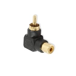 RCA Male to RCA Female Right Angle Adapter 90 Degree Connector Black