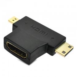 2in1 Mini HDMI Micro HDMI Male to HDMI Female Adapter Converter 1080P