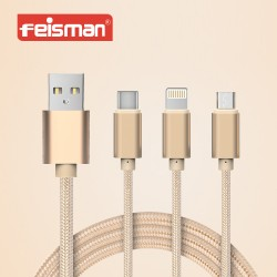 3in1 USB 3.1 TypeC To Micro USB Lightning 8 pin USB Data Charging Cable Braided