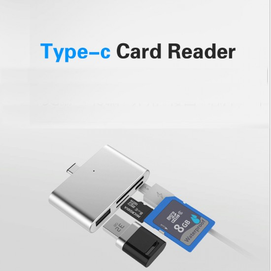 4in1 USB 3.1 Type C to TF SD Card Reader Micro USB 3.0 LED Hub Adapter