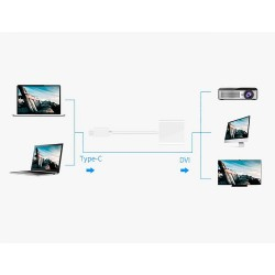 USB 3.1 Type C Thunderbolt 3 Port to DVI Adapter 1080P MacBook Chromebook ETC