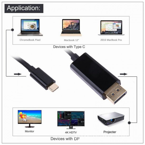 1.8M Type C USB-C Thunderbolt 3 to Display port DP Cable Male to Male Converter