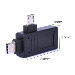 2in1 OTG Adapter Type C Micro USB Port male to USB Female